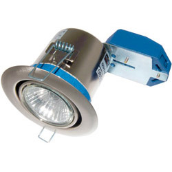 Scolmore Flameguard GU10 50W Centre Tilt Downlight Satin Chrome