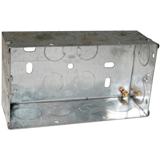 get metal double twin 2 gang socket back box 47mm socket boxes rh ncelectrical co uk