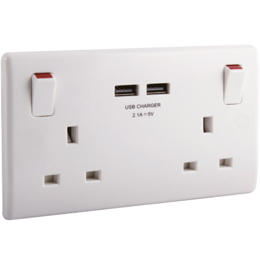 2 Gang Switched 13a Socket With Twin Type A 2 1a Usb 2 0
