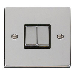 click deco wiring accessories sockets and switches northern andvpch411wh deco 10 amp 2 gang light switch polished chrome black insert
