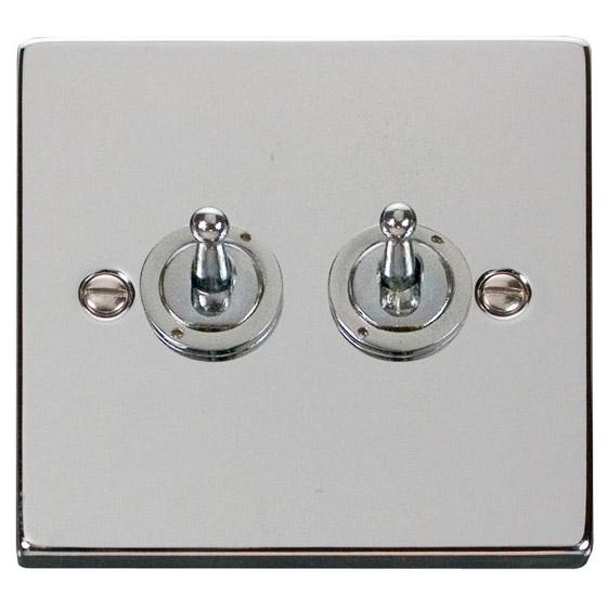 Deco 10 Amp Double Toggle Light Switch Polished Chrome Click Deco
