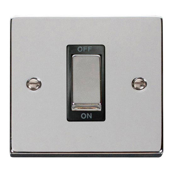 Deco 1 Gang 45 Amp Dp Cooker Switch Polished Chrome Black